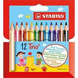 """Crayons de couleur TRIANGULAIRES /12 (9cm) """"STABILO"""""""